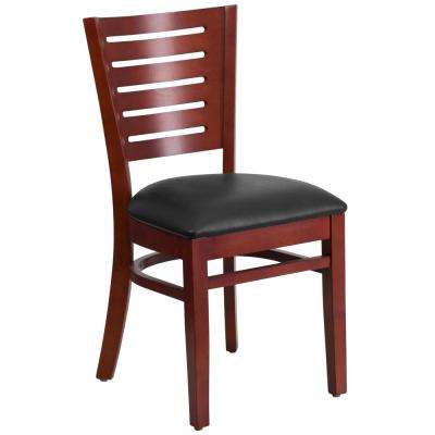 Darby Series Mahogany Slat Back Wooden Restaurant Chair with Black Vinyl Seat