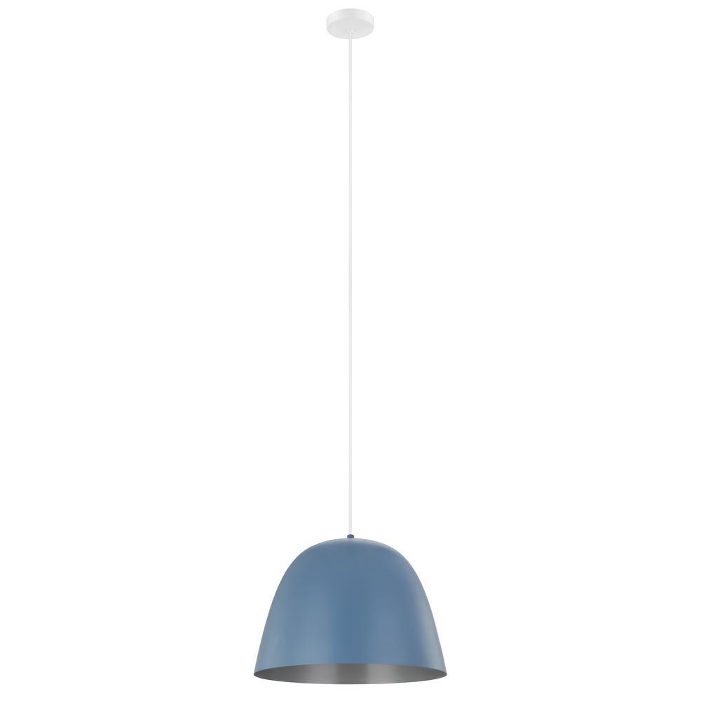 Coretto 16 in. 1-Light Pastel Dark Blue Pendant with Silver Interior