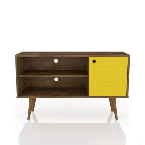 Liberty 42.52 in. Rustic Brown and Yellow 2-Shelf TV Stand