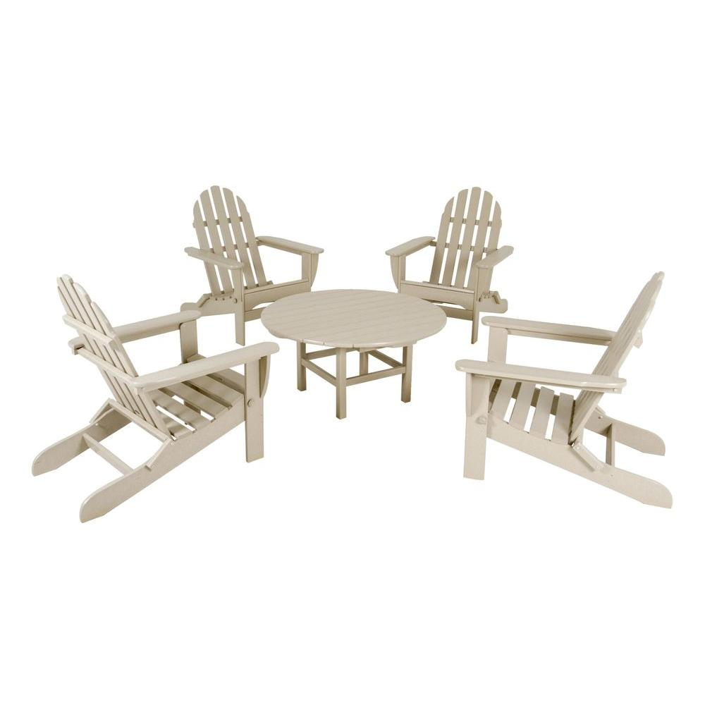 POLYWOOD Classic Sand 5-Piece Folding Adirondack Patio Conversation Set