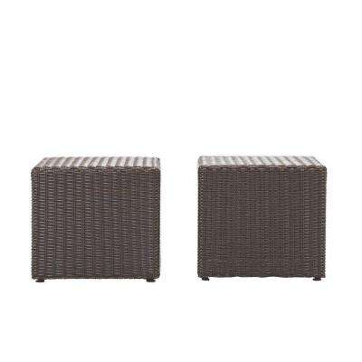 Naples Brown All-Weather Wicker Patio Coffee/Side Patio Table (Set of 2)