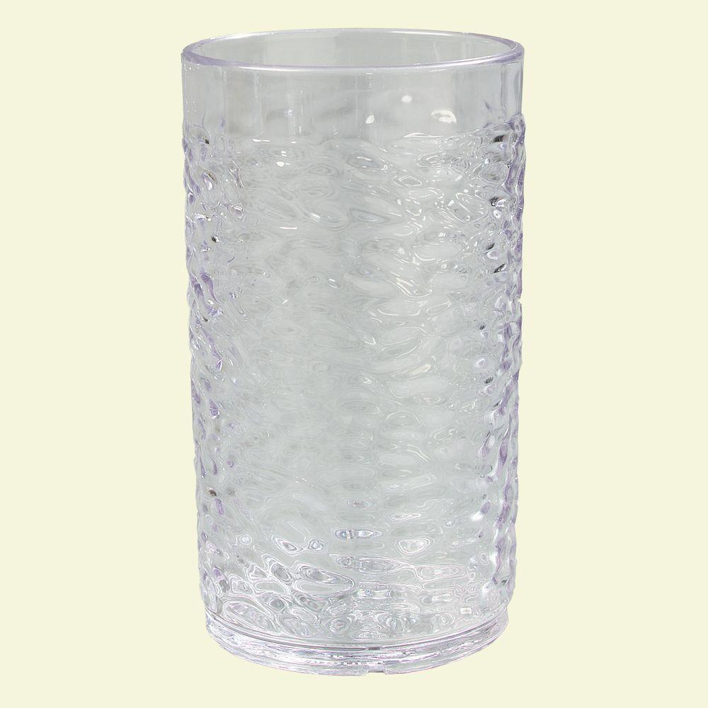 9.5 oz. SAN Plastic Pebble Optic Tumbler in Clear (Case of 24)