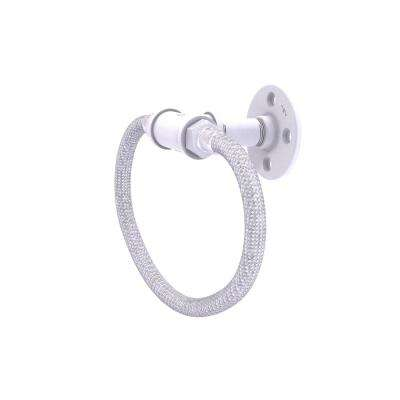 Pipeline Collection Towel Ring with Stainless Steel Braided Ring in Matte White