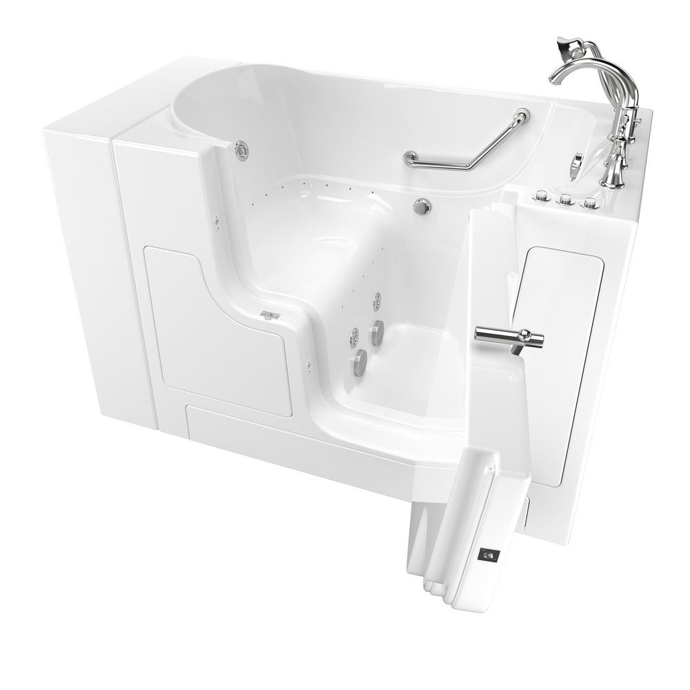 American Standard Gelcoat Value Series 51 in. Right Hand Walk-In Whirlpool and Air Bathtub with Outward Opening Door in White