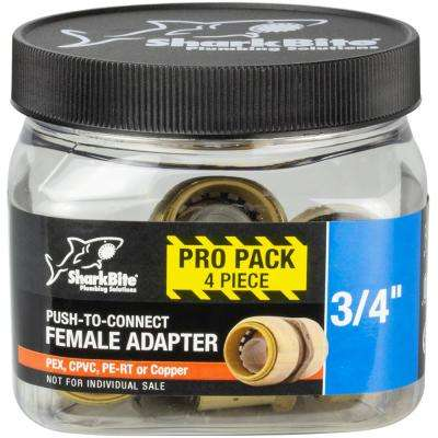 3/4 in. Brass Push-to-Connect x Female Pipe Thread Adapter (4-Pack)