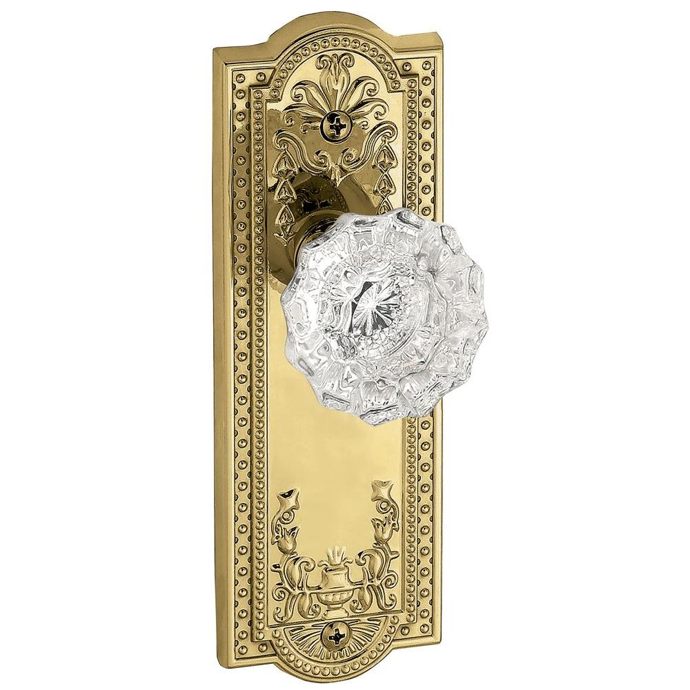 Grandeur Parthenon Lifetime Brass Plate with Passage Fontainebleau Crystal Knob