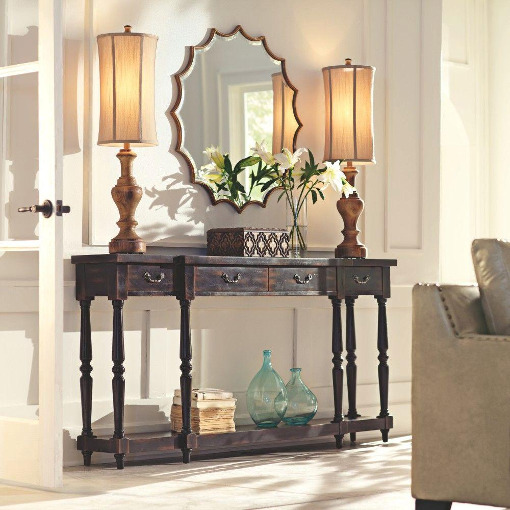 home decorators collection mitchell black rubbed storage console table 1506100210 the home depot. Black Bedroom Furniture Sets. Home Design Ideas