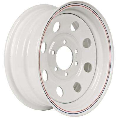 2830 lb. Load Capacity White with Stripe Modular Steel Wheel Rim