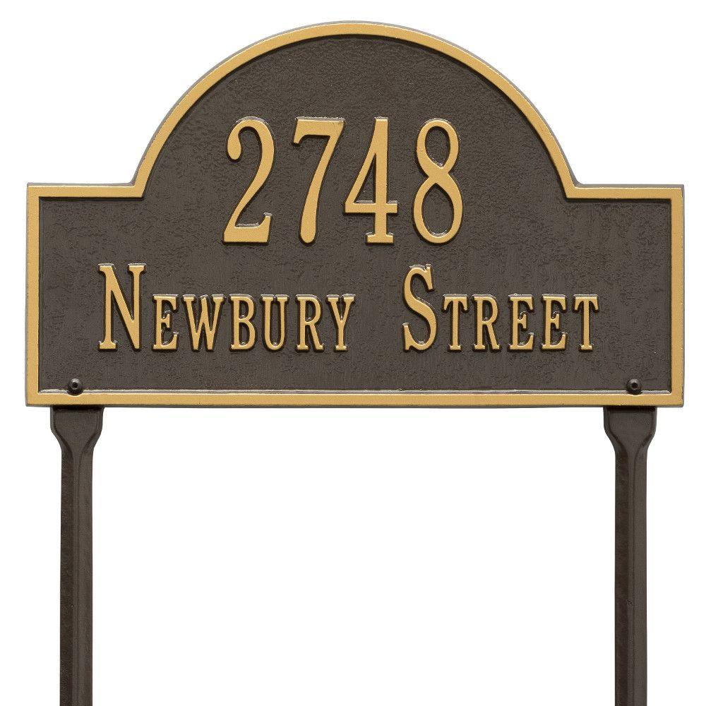 Whitehall Products Arch Marker Standard Bronze/Gold Lawn 2-Line Address Plaque