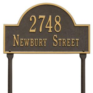 arch marker standard bronzegold lawn 2line address plaque whitehall products - Whitehall Products