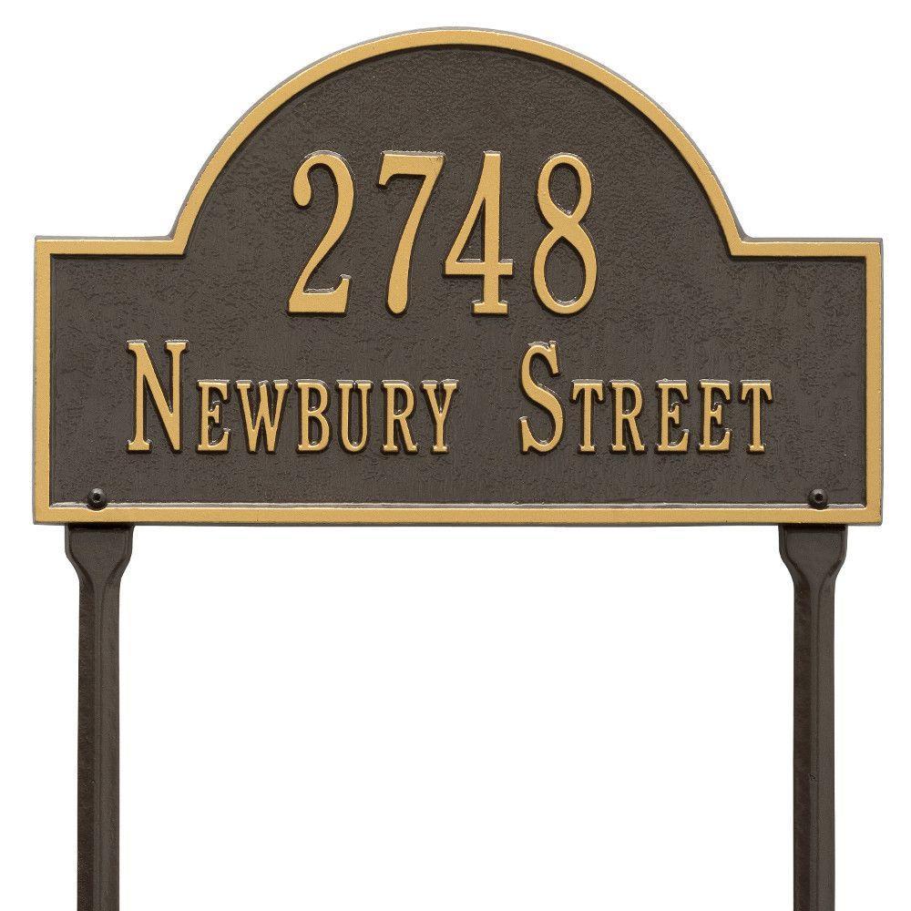 Arch Marker Standard Bronze/Gold Lawn 2-Line Address Plaque