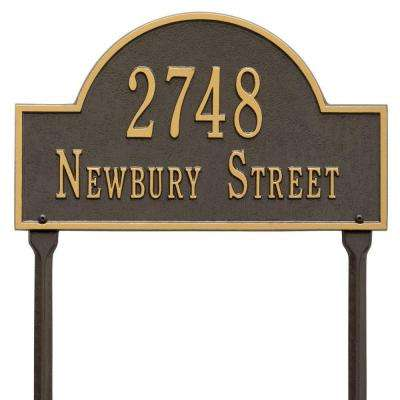 Arch Marker Standard Bronze/Gold Lawn 2-Line Address Plaque