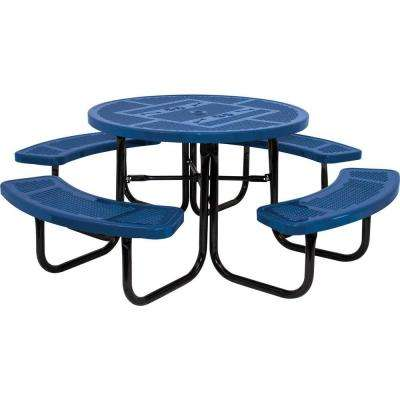 46 in. Blue Dog Park Commercial Round Perforated Punch Table