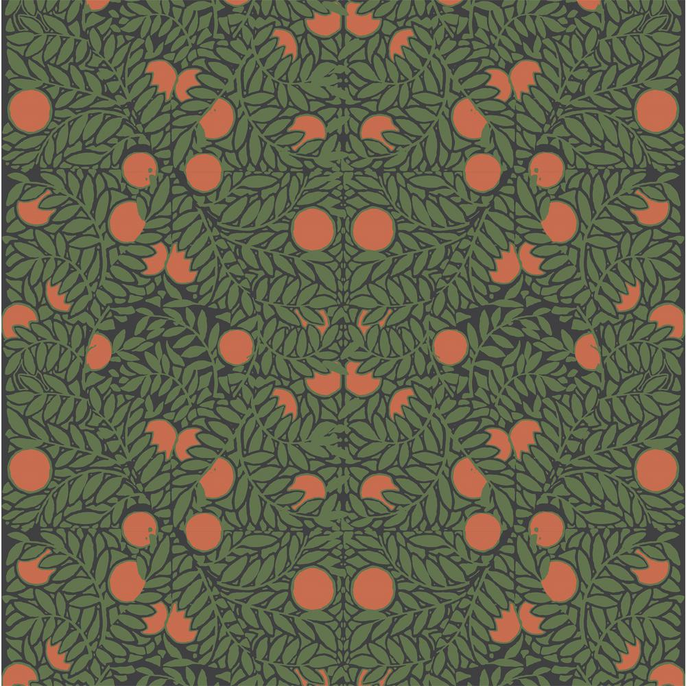 Mitchell Black Debut Collection Orange Bush in Forest/Orange Removable and Repositionable Wallpaper