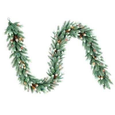 9 ft. Copenhagen Blue Spruce Artificial Garland with Pinecones and 50 Multi-Color Lights