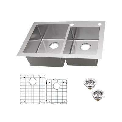 Dual Mount 18-Gauge Stainless Steel 33 in. 2-Hole 60/40 Double Bowl Kitchen Sink with Grid and Drain Assemblies