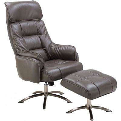 Parker PU Leather Dark Gray Office Chair with Ottoman