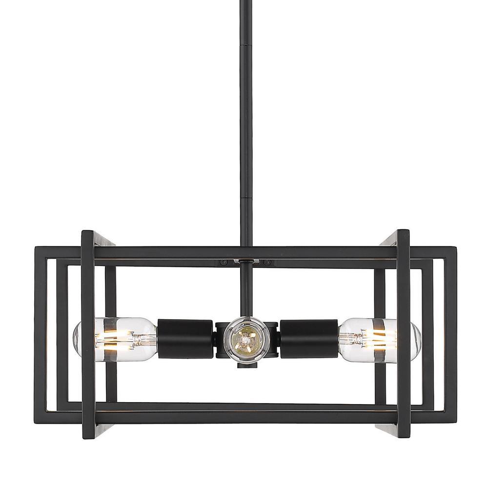 Tribeca 4-Light Black with Black Accents Pendant