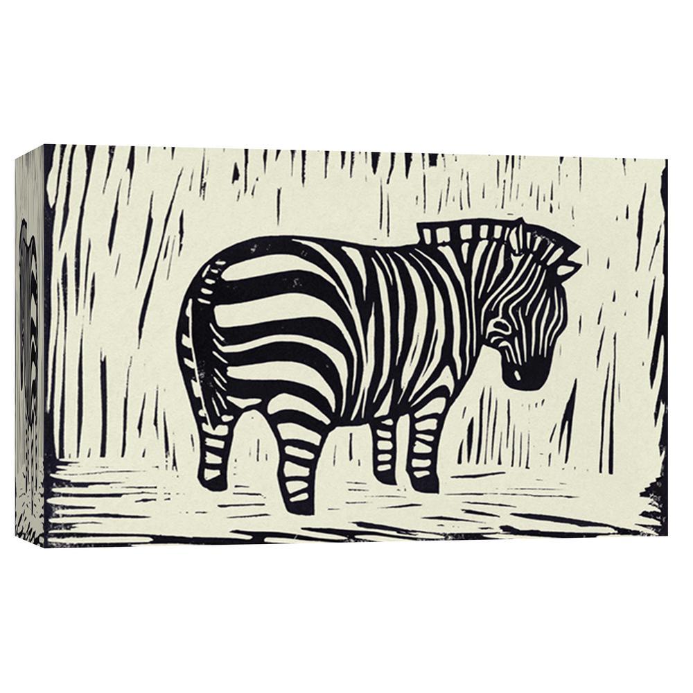 10 in. x 12 in. ''Zebra Linocut'' Printed Canvas Wall Art