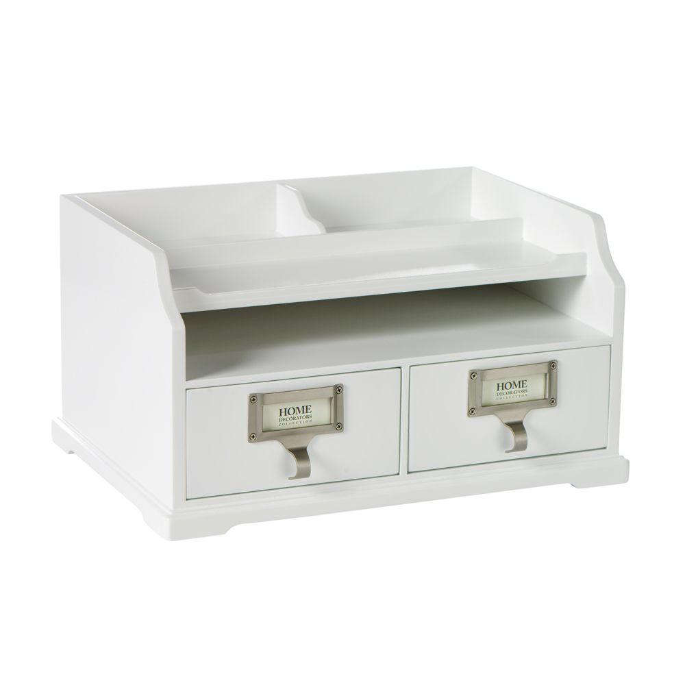 Home Decorators Collection 13.25 in. W Austin White Desk Organizer