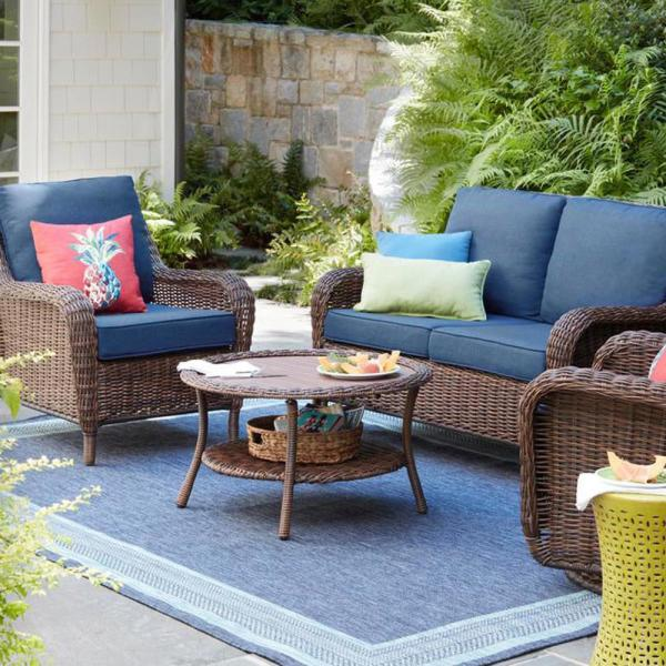 Hampton Bay Cambridge Brown Wicker Outdoor Patio Swivel Rocking Chair With Standard Midnight Navy Blue Cushions 65 17148b4 The Home Depot