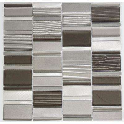 12 in. x 12 in. x 8 mm Tile Esque Grey Silver Modern Rectangle Mesh Mounted Mosaic Tile