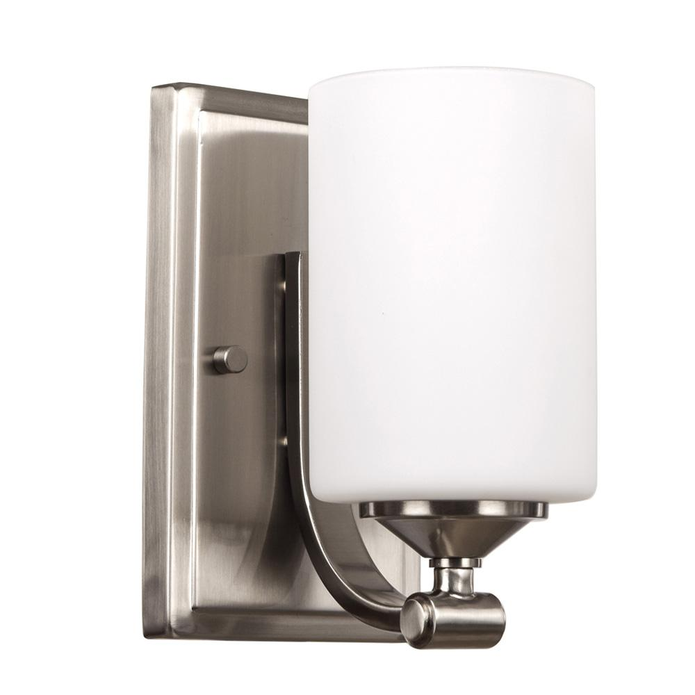 Hampton Bay 1-Light Brushed Nickel Wall Sconce With