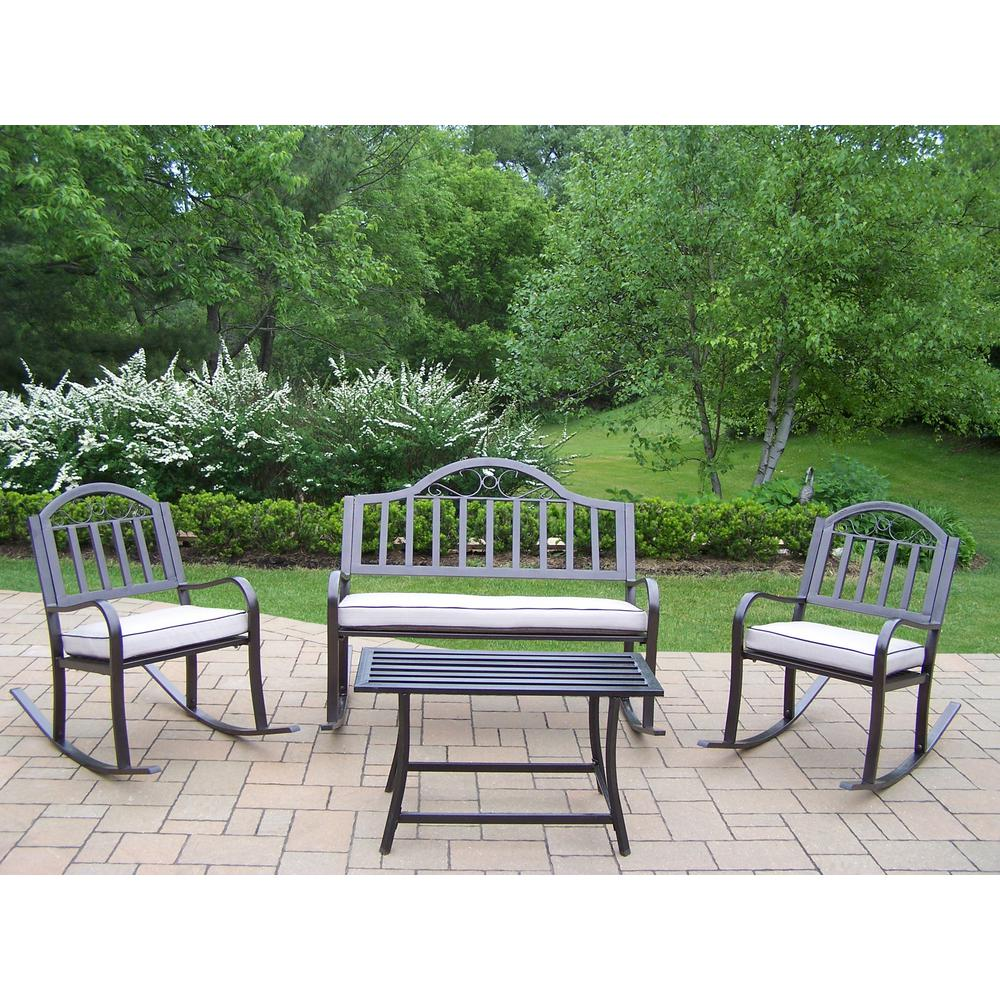 Rochester 4-Piece Metal Patio Conversation Set with Oatmeal Cushions