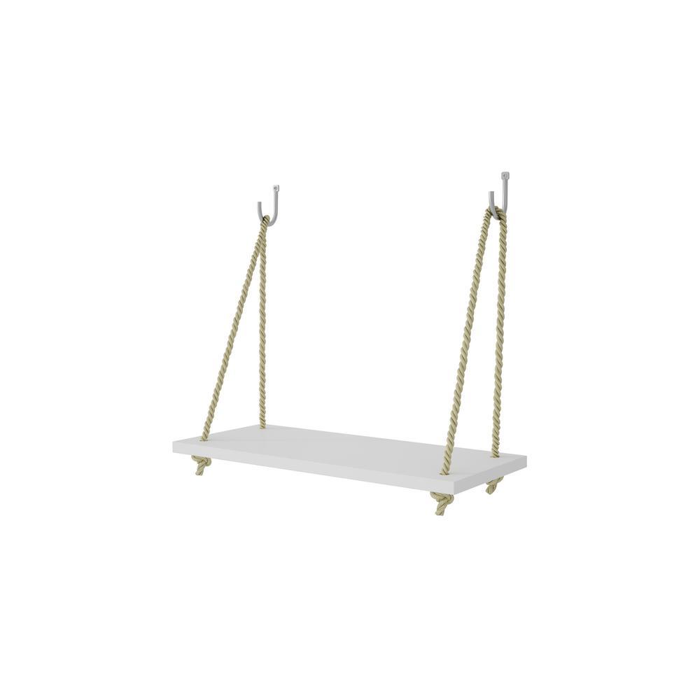Manhattan Comfort Uptown 1 - 17.52 in. White Rope Swing Shelf