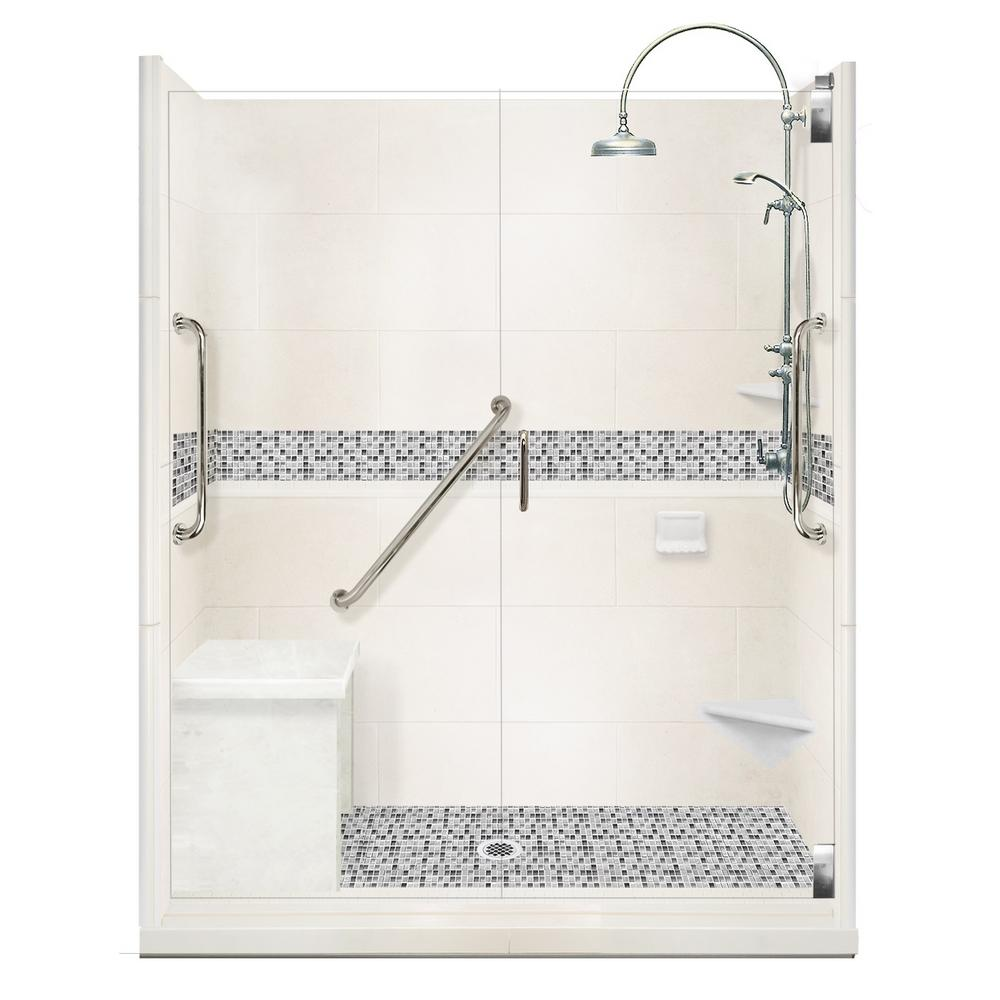 American Bath Factory Del Mar Freedom Luxe Hinged 32 In X 60 80 Center Drain Alcove Shower Kit Natural Buff And Chrome Hardware