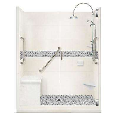 Del Mar Freedom Luxe Hinged 34 in. x 60 in. x 80 in. Center Drain Alcove Shower Kit in Natural Buff and Nickel Hardware