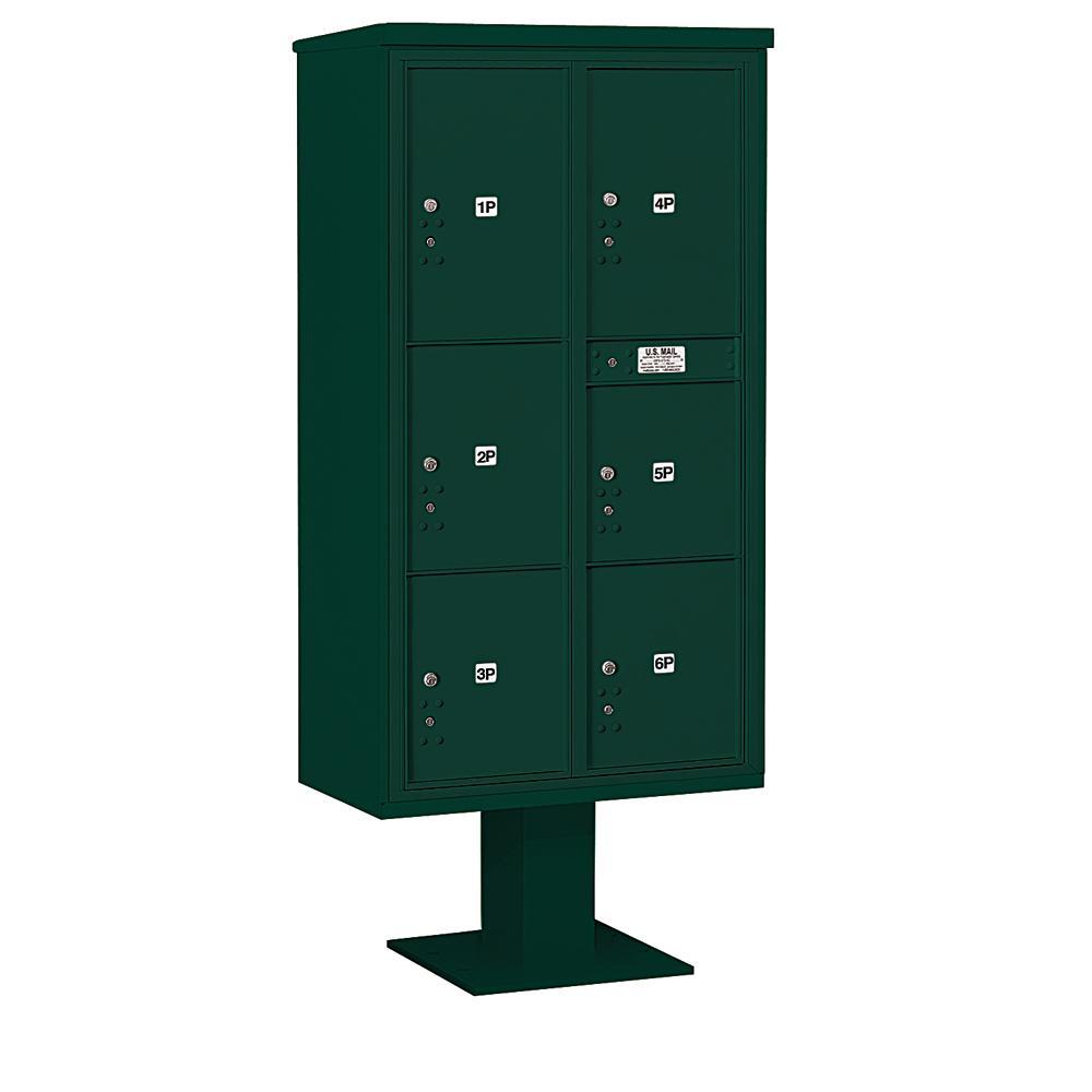 3400 Horizontal Series 6-Parcel Locker Pedestal Mount Mailbox