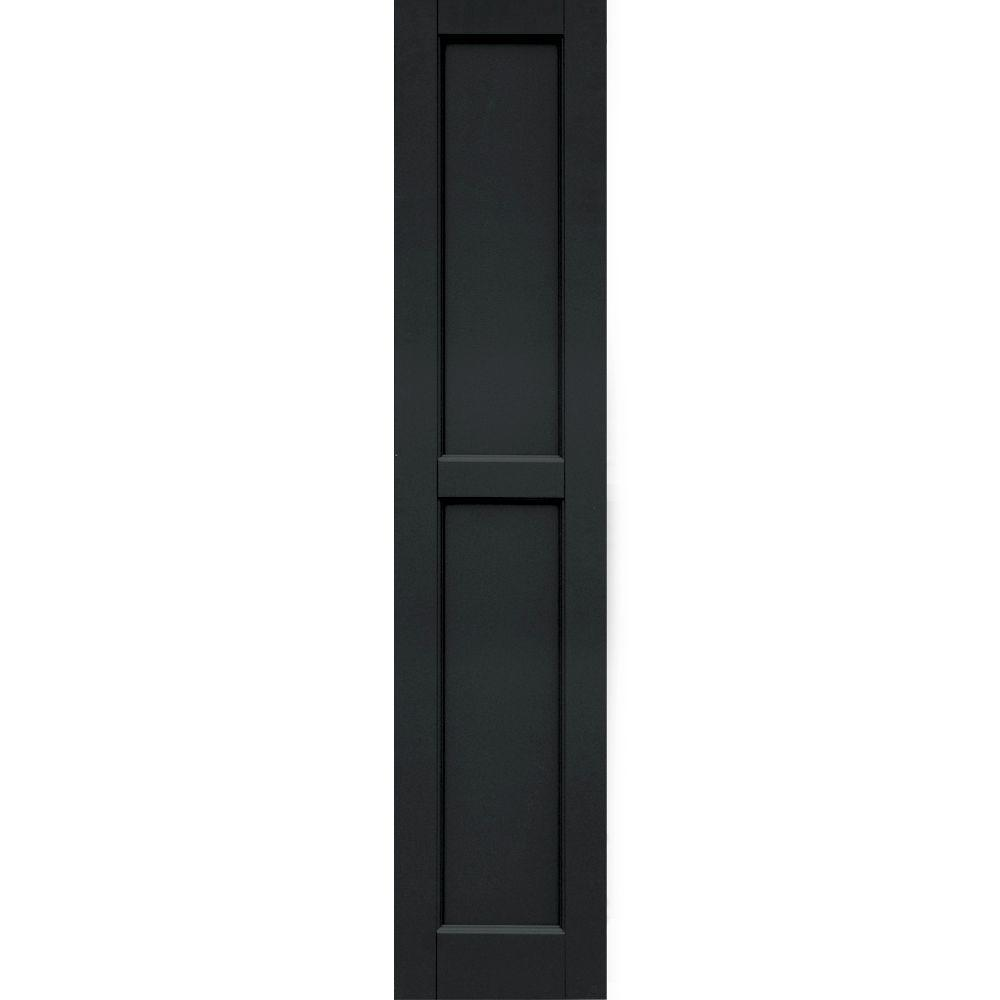 Winworks Wood Composite 12 in. x 57 in. Contemporary Flat Panel Shutters Pair #632 Black