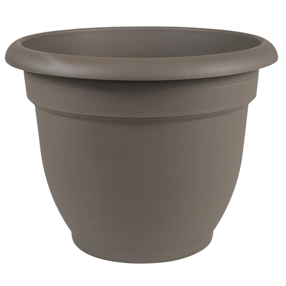 Ariana 12 in. Peppercorn Plastic Self Watering Planter