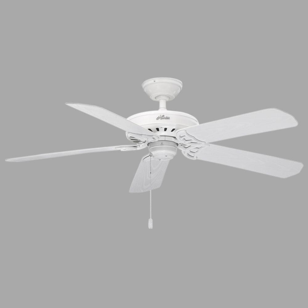 Hunter White Fan Part - 35: Hunter Bridgeport 52 In. Indoor/Outdoor White Damp Rated Ceiling Fan