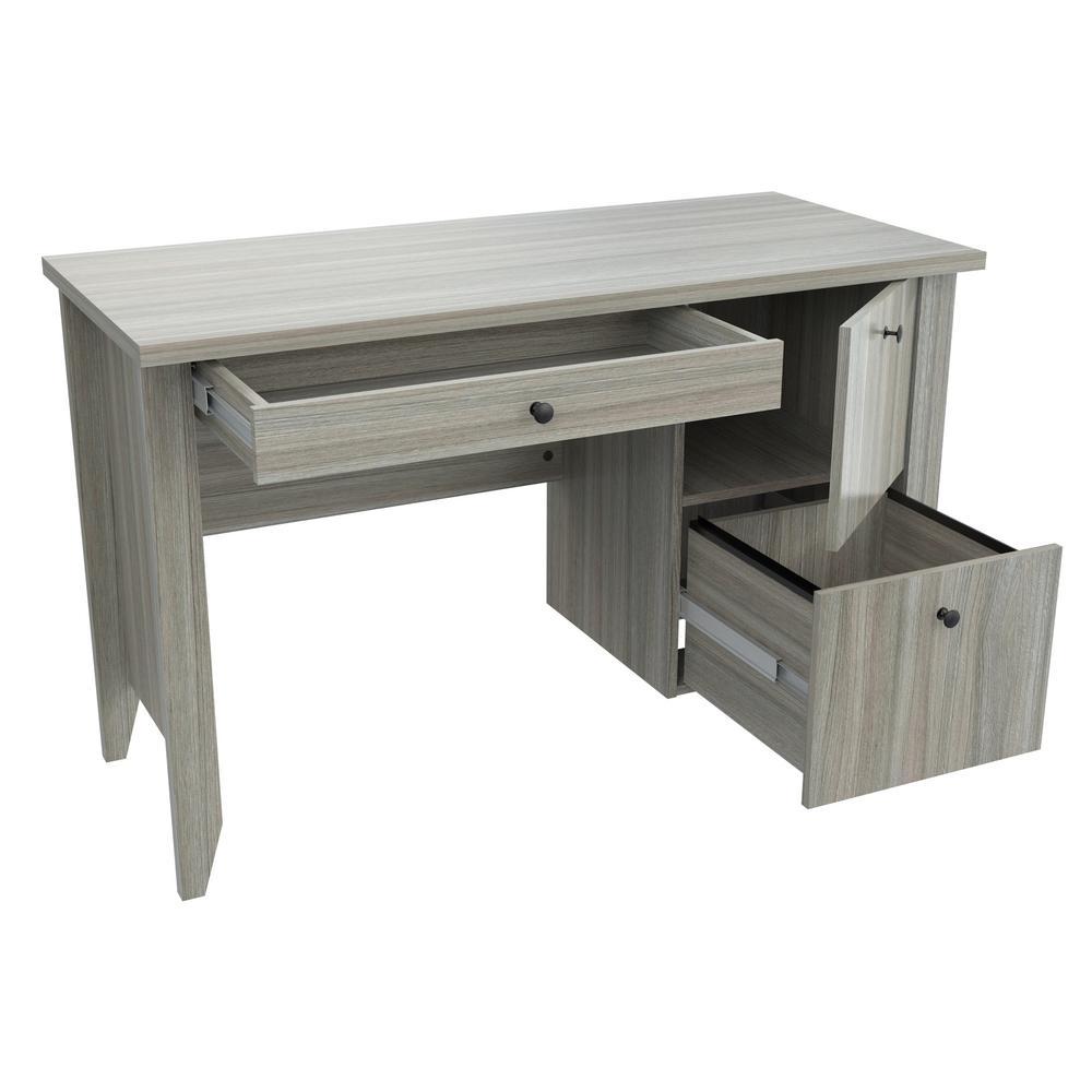 47.2 in. Smoke Oak Rectangular 2 -Drawer Writing Desk with File Storage