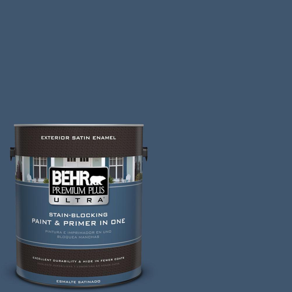 BEHR Premium Plus Ultra 1-gal. #BXC-24 Atlantic Tide Satin Enamel Exterior Paint