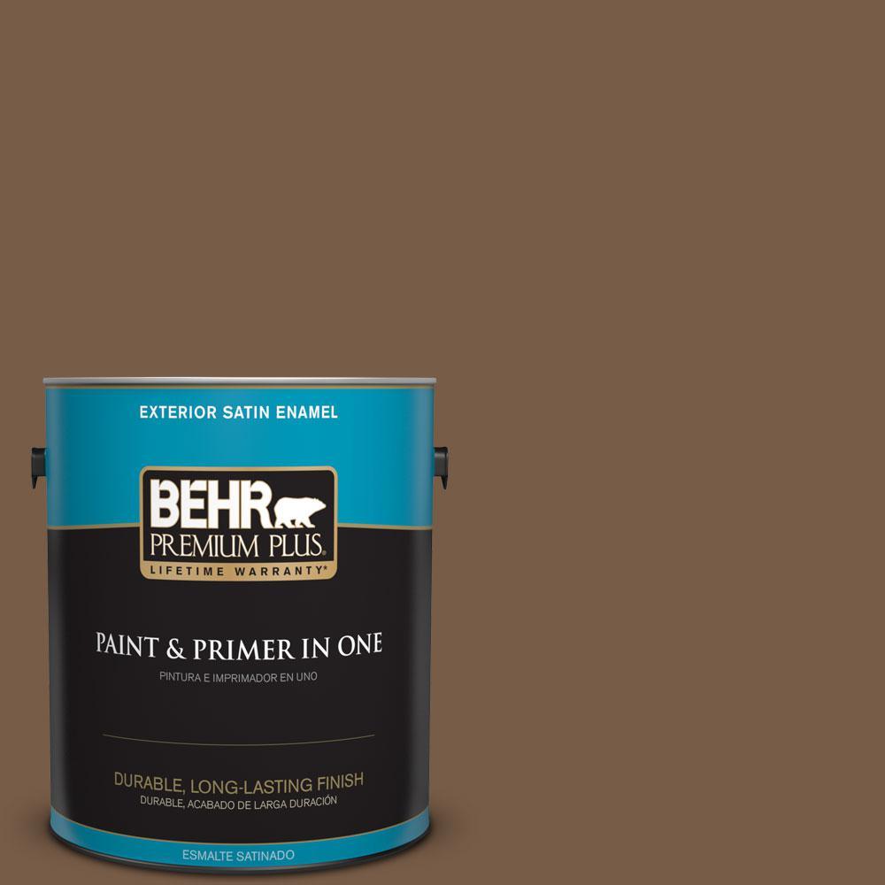 BEHR Premium Plus 1-gal. #N250-7 Mission Brown Satin Enamel Exterior Paint