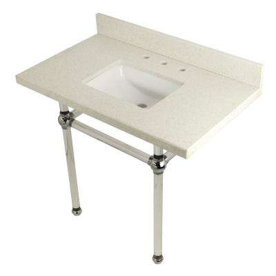 Square-Sink Washstand 36 in. Console Table in White Quartz with Acrylic Legs in Polished Chrome