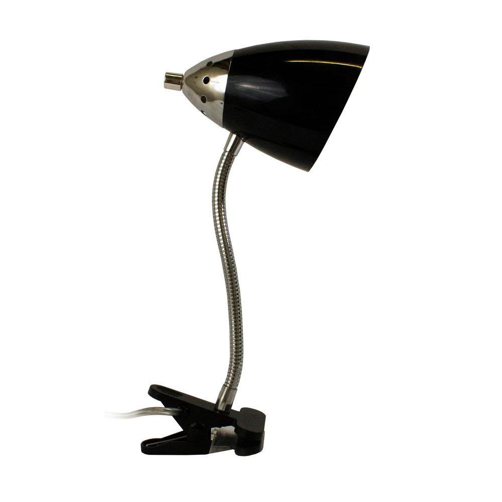 14 in. Black Flossy Flexible Gooseneck Clip Light