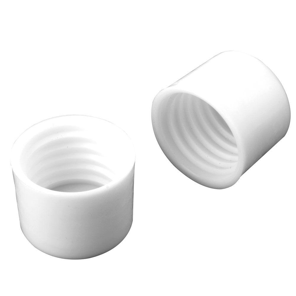 1-1/4 in. White Closet Pole End Caps (2-Pack)