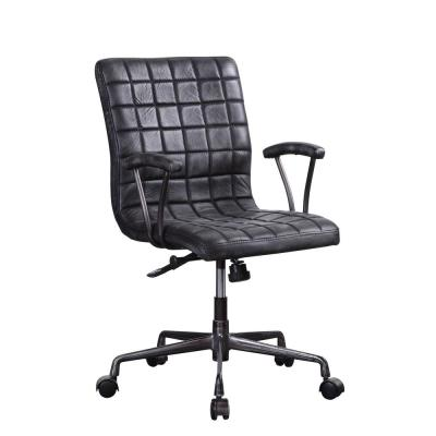 Amelia Vintage Black Top Grain Leather Aluminum Metal Upholstered Office Chair