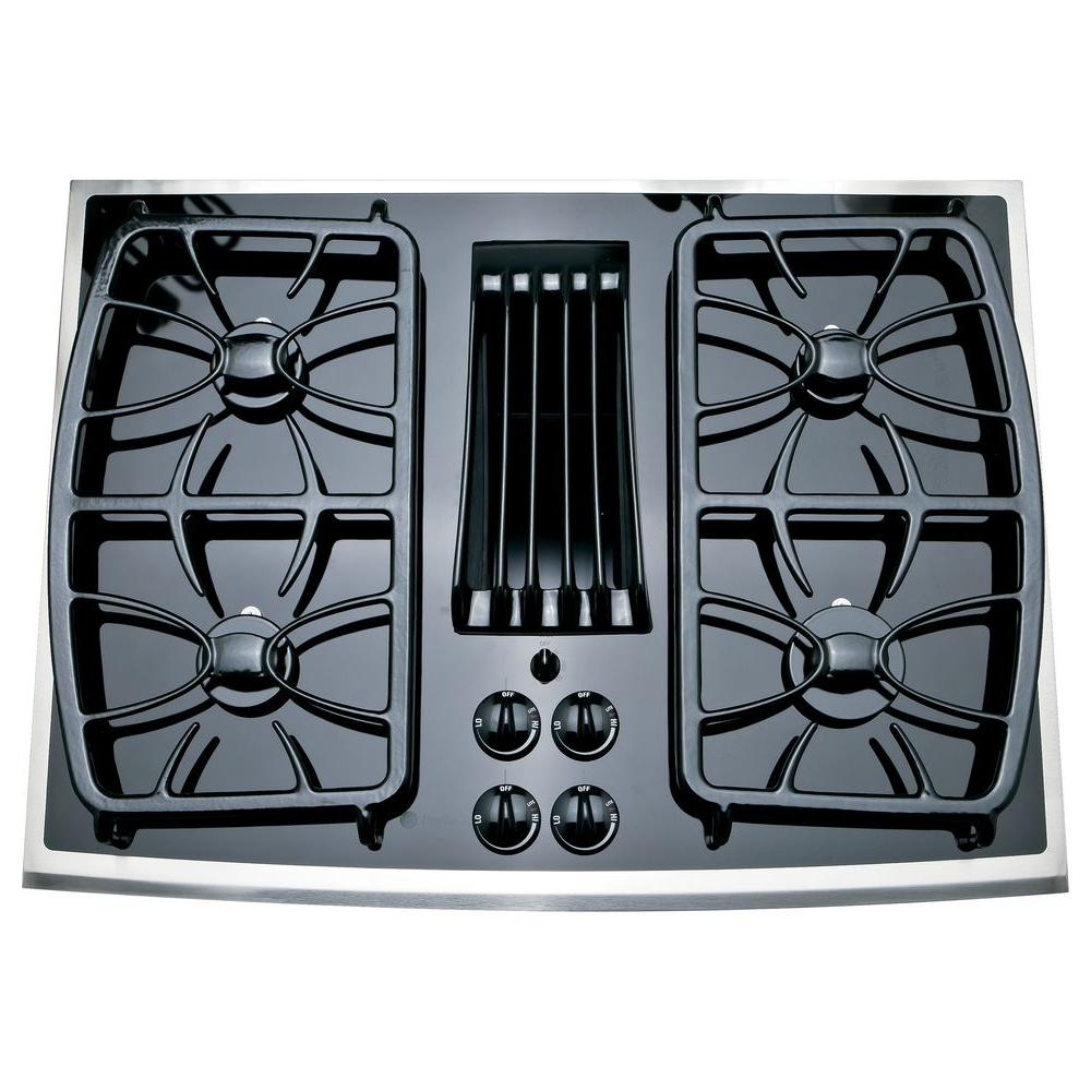GE Profile 30 in. Gas-on-Glass Gas Cooktop in Stainless Steel with 4 Burners including 11,000 BTU All-Purpose Burner
