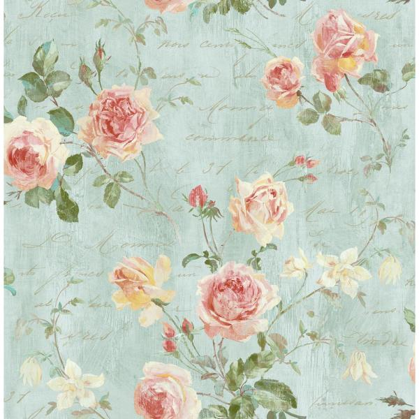 Seabrook Designs Charleston Floral Blush and Powder Blue Calligraphy Wallpaper