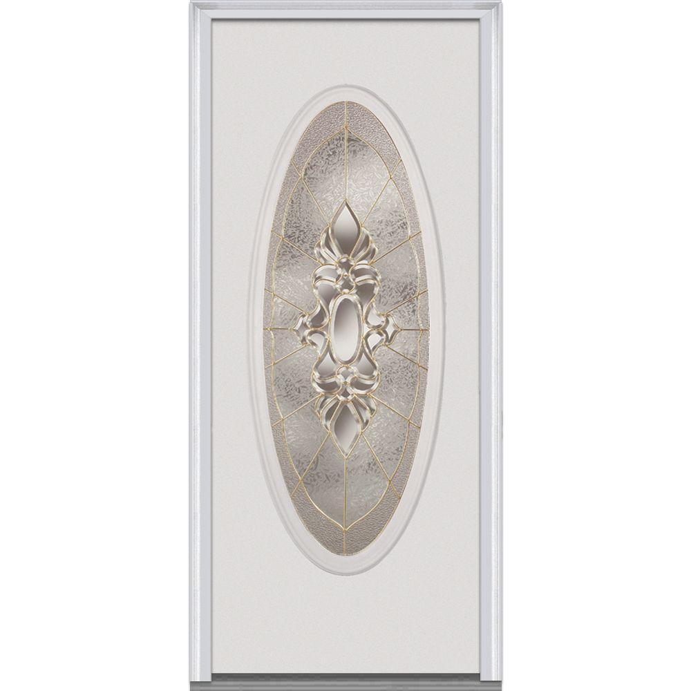 36 in. x 80 in. Heirloom Master Left-Hand Oval Lite Decorative Classic Primed Fiberglass Smooth Prehung Front Door