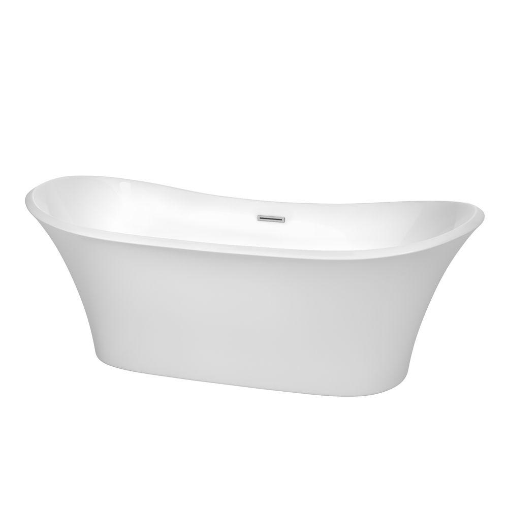 Wyndham Collection Bolera 5.9 ft. Acrylic Double Slipper Flatbottom Non-Whirlpool Bathtub in White