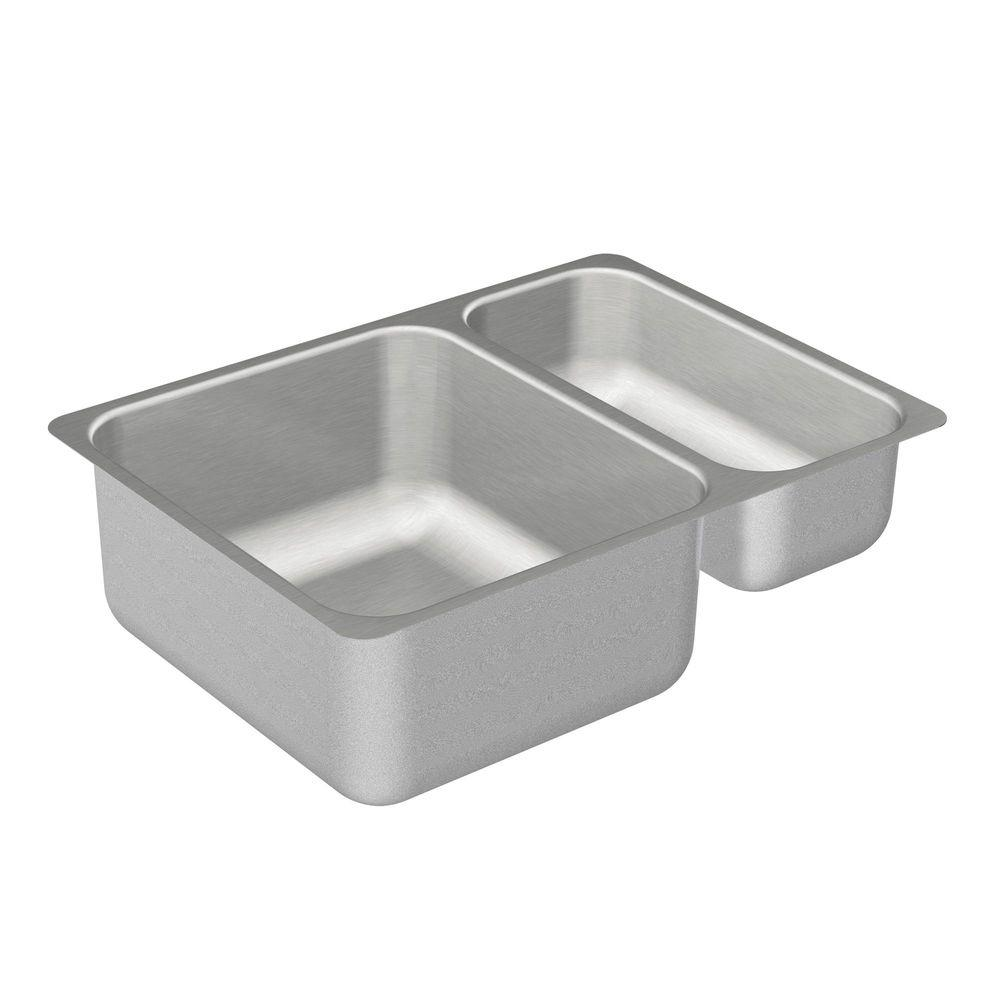 moen 2000 series undermount stainless steel 24 in double bowl kitchen sink g20273 the home depot. Black Bedroom Furniture Sets. Home Design Ideas