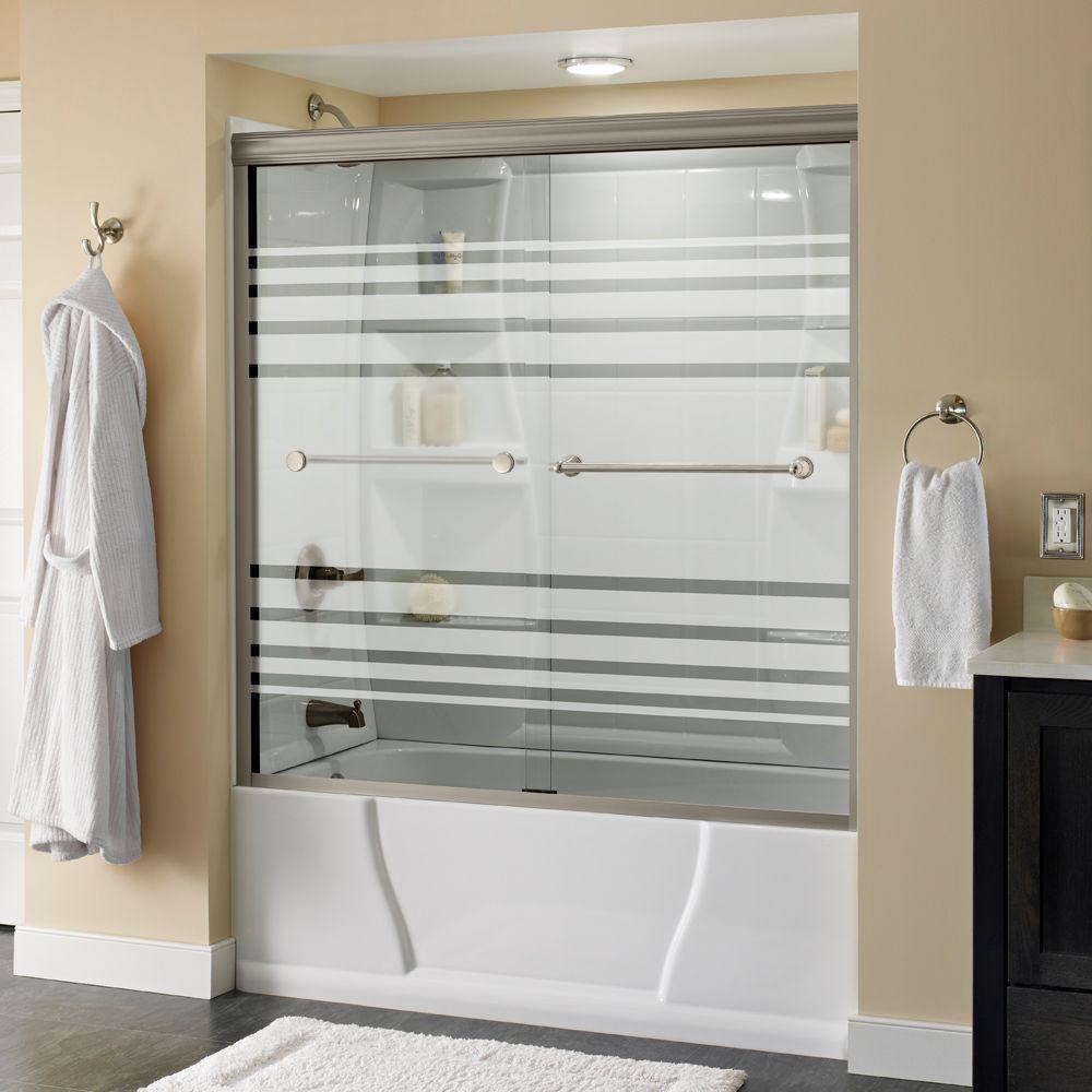 Crestfield 60 in. x 58-1/8 in. Semi-Frameless Sliding Bathtub Door in Nickel with Transition Glass