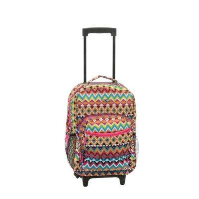 Rockland Roadster 17 in. Rolling Backpack, Tribal