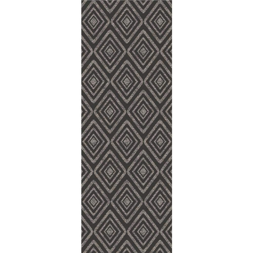 Ruggable Washable Prism Dark Grey 2.5 ft. x 7 ft. Stain Resistant Runner Rug